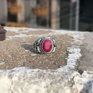 Jewelry - Ruby Indian Sterling Silver Ring Sz 7